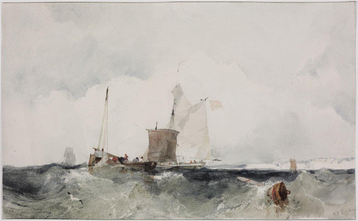 Fishing boats on the wavy sea