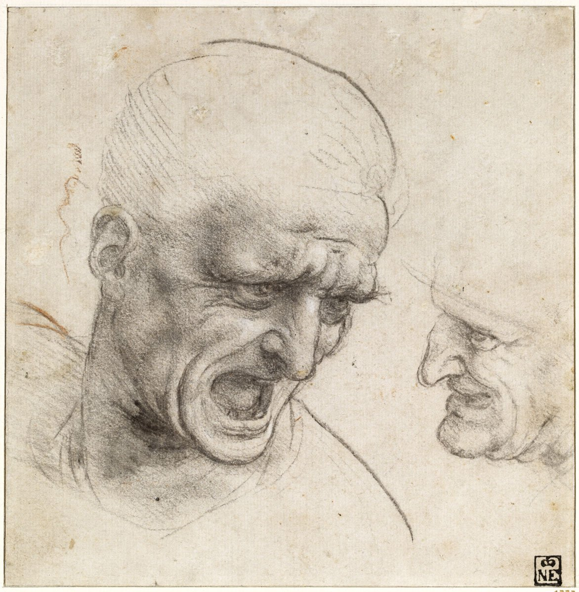 Studies for the Heads of Two Soldiers in the Battle of Anghiari
