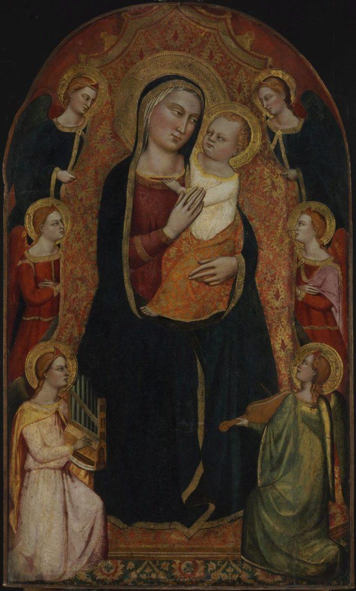 Jacopo di Cione: Trónoló Mária gyermekével és hat angyallal