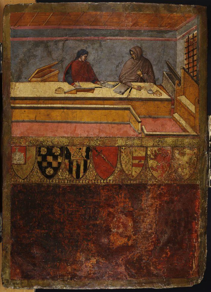 Guido di Domenico di Tantuccio: A kamarás és az írnok (Könyvfedél Siena város Biccherna hivatalának számadáskönyvéhez