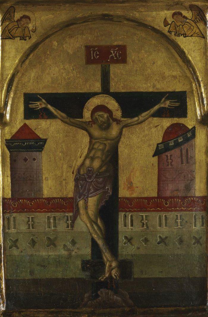Sienai festő: Krisztus a kereszten két angyallal