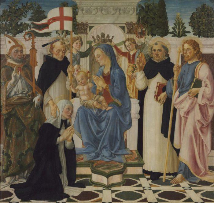 Andrea del Verrocchio műhelye, Biagio d'Antonio: Trónoló Mária gyermekével, öt szenttel és két angyallal
