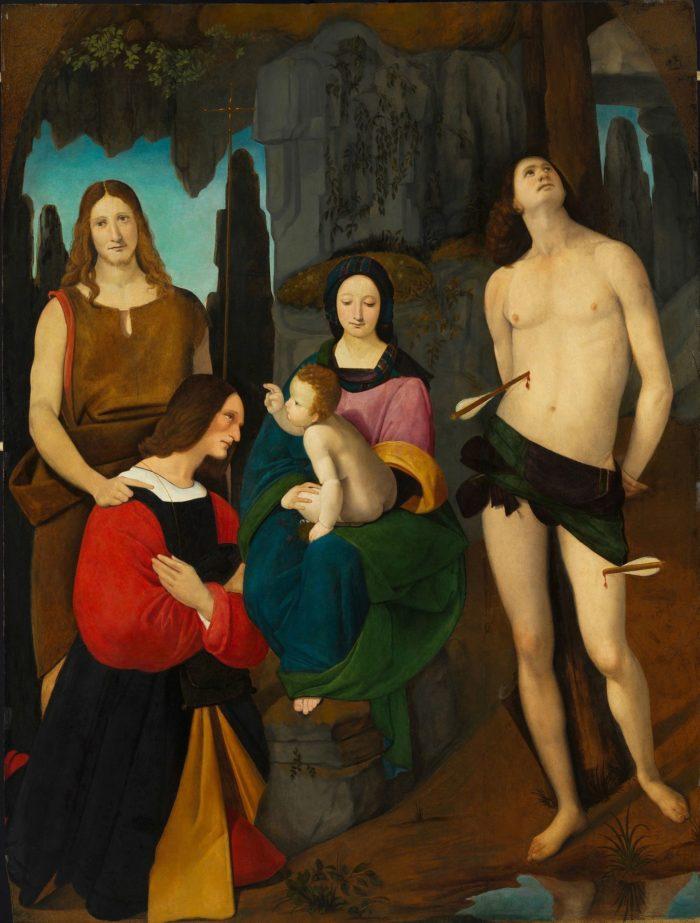 Giovanni Antonio Boltraffio: Mária gyermekével, Keresztelő Szent Jánossal, Szent Sebestyénnel és Bassiano da Ponte donátorral