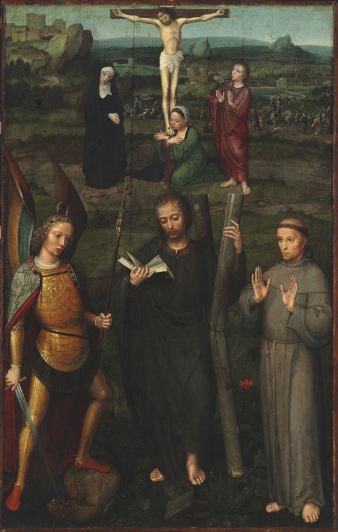 Adriaen Isenbrandt: Krisztus a kereszten Szent Andrással, Szent Mihály arkangyallal és Assisi Szent Ferenccel, 1510 körül