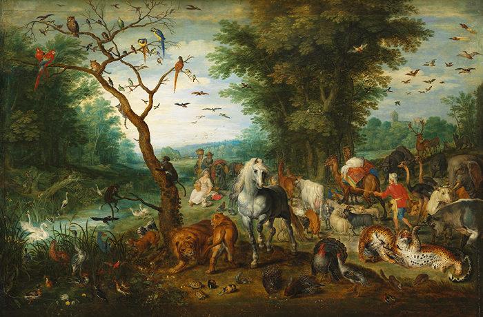 id. Jan Brueghel: Paradicsomi táj Noé bárkájába tartó állatokkal (1613 körül)