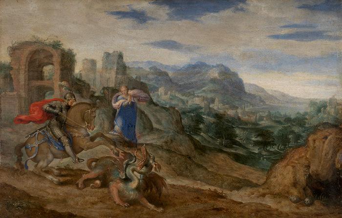 Bartholomäus Spranger: Szent György harca a sárkánnyal (1600 körül)