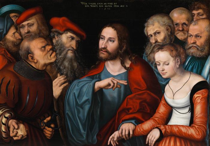 id. Lucas Cranach: Krisztus és a házasságtörő asszony