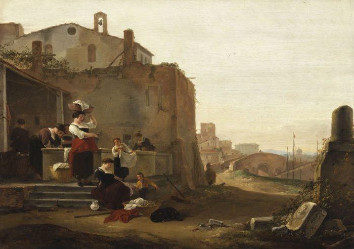 Thomas Wyck: Italianizáló táj mosónőkkel, 17. század