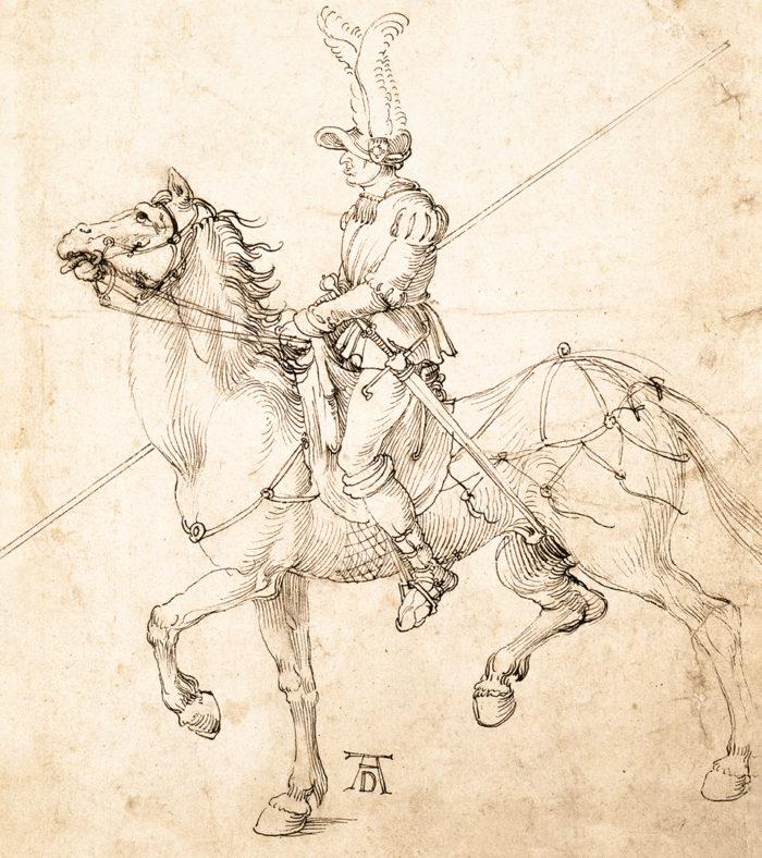 Albrecht Dürer műhelye: Lándzsás lovas, 1502