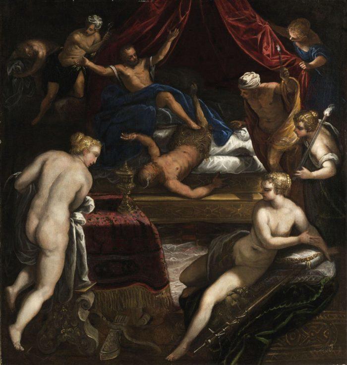 Jacopo Tintoretto: Herkules kitaszítja a faunt Omphale ágyából, 1585 körül