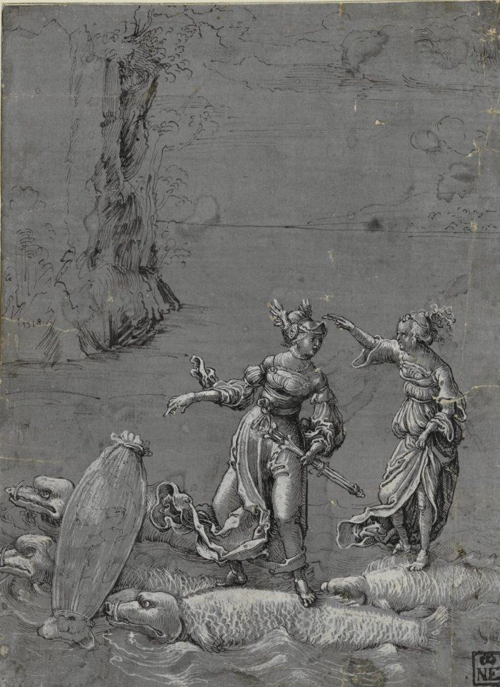 Augsburgi művész: Thétisz Szkürosz szigetére menekíti Akhilleuszt, 1518