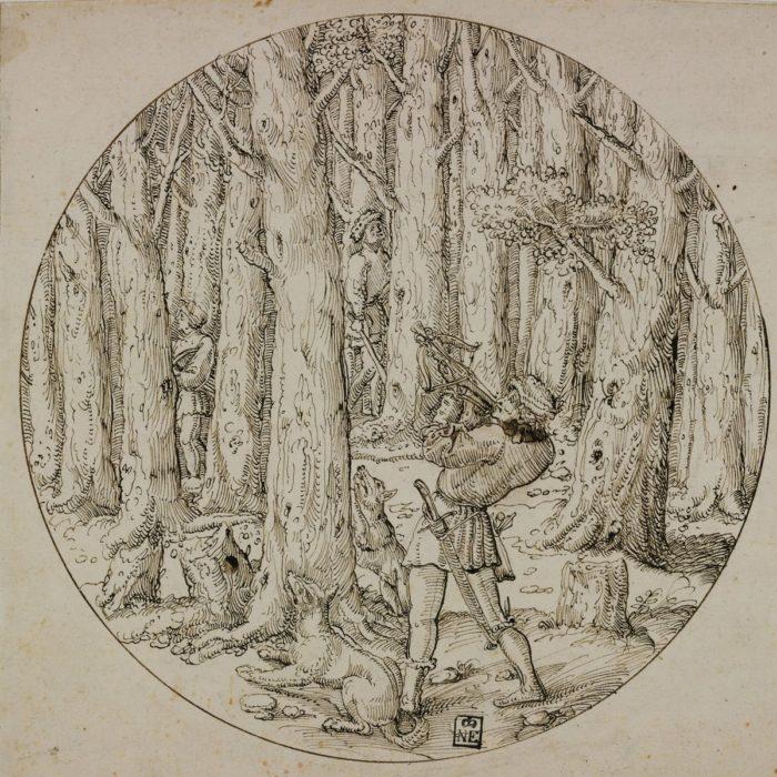 Augustin Hirsvogel: Mókusvadászat számszeríjjal, 1530-1536 körül