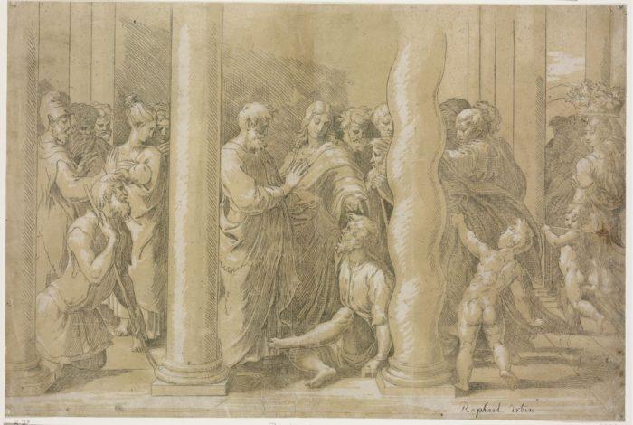Parmigianino Raffaello után: Szent Péter és Szent János meggyógyítja a bénákat a templom kapujában, 1524-1527 körül