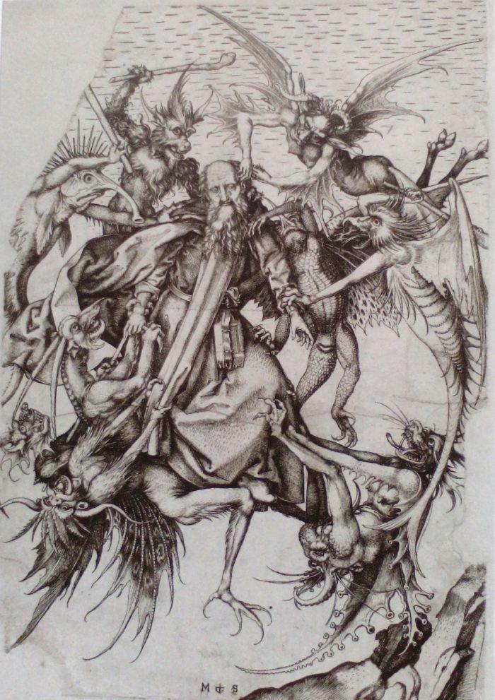 Rézmetszet – Martin Schongauer: Remete Szent Antal szorongattatása